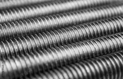 Bolts thread texture. Macro photo. Abstract background. Canvas Print