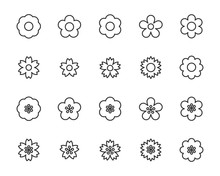 Set Of Flower Icons, Floral, S...