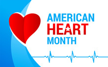 National American Heart Month Banner With Logo. Heart And Cardiology Concept Design. Vector Illustration ECG Graph And Red Heart For Banner, Flyer, Poster And Social Medial And Hospital Use.