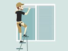 Man Blinds Installer Job Illustration