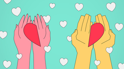 Female And Male Hands Offering Halves Of Heart, Turquoise Background