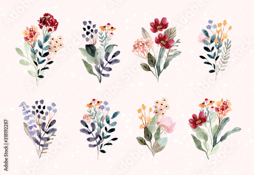 beautiful flower bouquet watercolor collection Canvas Print