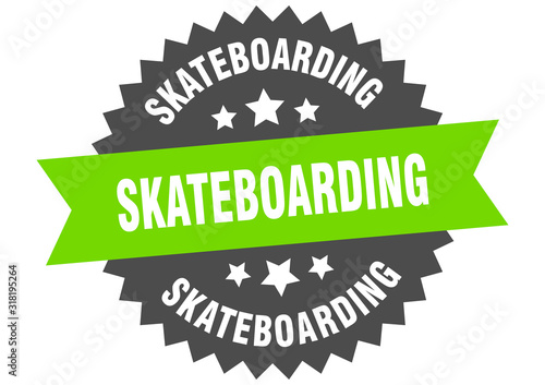 skateboarding sign. skateboarding circular band label. round skateboarding sticker