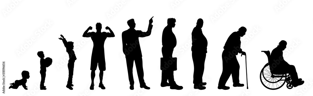 Fototapeta Vector silhouette of man in different age on white background. Symbol of generation from child to old person.