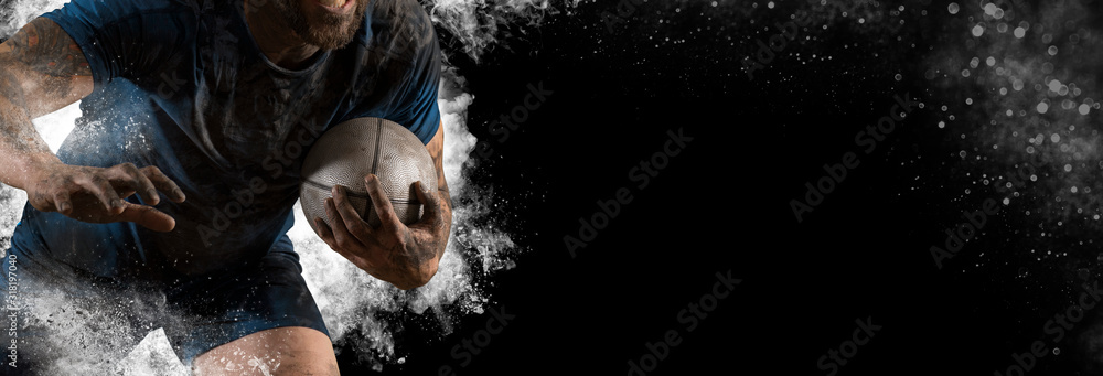 Fototapeta Rugby football player. Sports banner