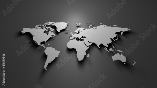 Obraz World map on grey background  - fototapety do salonu