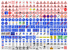 Collection Of Road Signs In Russia. Three Hundred Highly Detailed And Fully Editable Vector European Road Signs With Details. Danger Signs, Obligations, Warnings. Additional Table. Routing Table. Russ
