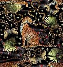 Tropical Seamless Pattern With Chains, Leopard, Snake And Tropical Leaves. Baroque Luxury Background