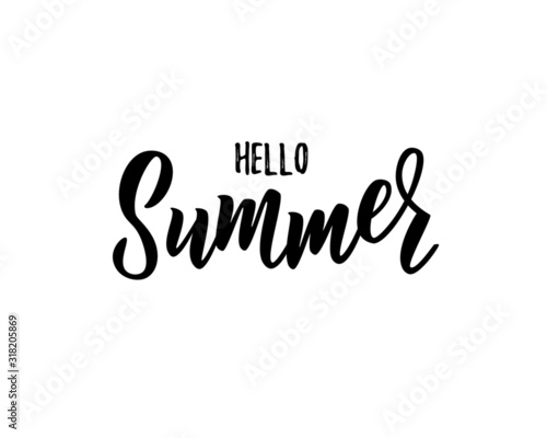 Fototapeta Hello summer hand lettering text as logotype, label, badge, icon, postcard, card, invitation, banner template