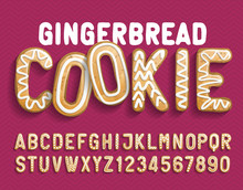 Christmas Gingerbread Cookie Alphabet Font. Cartoon Letters And Numbers With Shadow. Holiday Vector Illustration For Your Design.