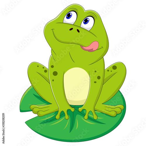 Fotografie, Obraz Illustration of green frog sitting on a leaf