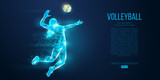 Abstract silhouette of volleyball player woman, girl, female with volleyball ball. All elements on a separate layers color can be changed to any other. Low poly neon wire outline geometric. Vector