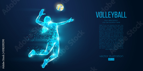 Abstract silhouette of volleyball player woman, girl, female with volleyball ball Canvas Print
