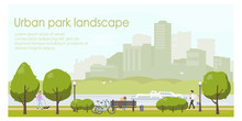 Urban Park Landscape Flat Illustration. Horizontal Banner Template With Place For Your Text. Stock Vector. People Relaxing In City Park, Walking With Dog, Riding Bicycle.