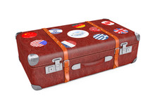 Retro Leather Brown Threadbare Suitcase With Travel Stickers, Metal Corners And Belts. 3d Rendering