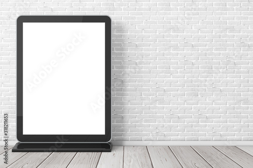 Fototapeta Blank Trade Show LCD Screen Stand as Template for Your Design. 3d Rendering obraz
