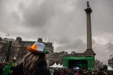 Rear View Of Woman At Trafalgar Square On St Patrick Day