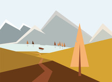 Autumn Landscape Illustration, Road To Mountain Lake With Boat Between Hills, Trees, Peaks In Snow, Autumn Concept. Path Leading Through Mounts Near Spruce, River, Geometric Artwork With Triangles