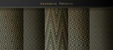 Set Of Geometric Gold Seamless Patterns On Black Background. Minimal Line Art. Vector Templates