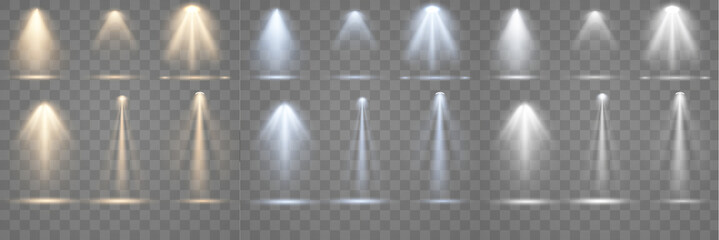 Set of spotlight shines on the stage, scene, podium. Bright lighting with spotlights. Spot lighting of the stage. Lens flash light effect from a lamp or spot.