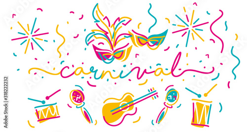 Cuadros en Lienzo Carnival handwritten typography colorful line design carnival elements and music