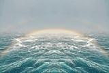 Fototapeta Tęcza - Beautiful rainbow  during the heavy storm in Pacific Ocean January.2020