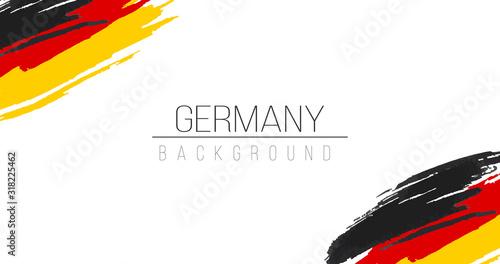 Obraz Germany flag brush style background with stripes. Stock vector illustration isolated on white background. - fototapety do salonu