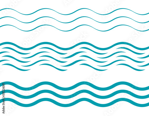 Set of waves patterns of cyan, azure or sea colors Canvas Print