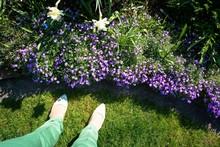 Frau Im Frühlingsgarten