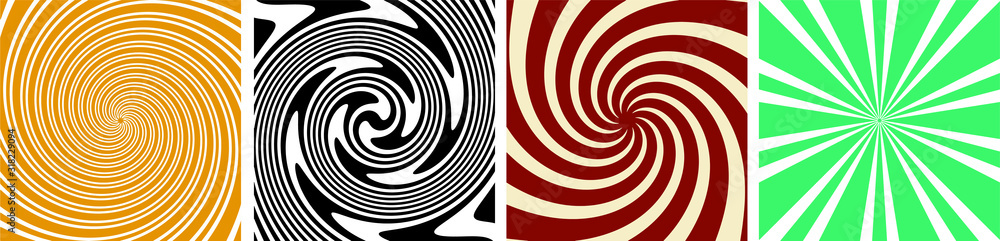 Fototapeta set of 4 Twirl Swirl Sunburst Spin 70s Retro colors abstract backgrounds Vintage and spiral sunburst background vectors
