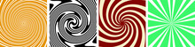 Set Of 4 Twirl Swirl Sunburst Spin 70s Retro Colors Abstract Backgrounds Vintage And Spiral Sunburst Background Vectors