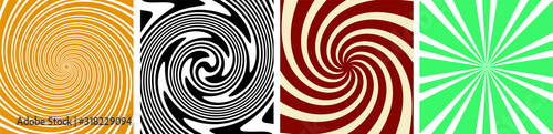 Fotografia set of 4 Twirl Swirl Sunburst Spin 70s Retro colors abstract backgrounds Vintage