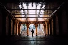 Silhouette Man Walking Under A...