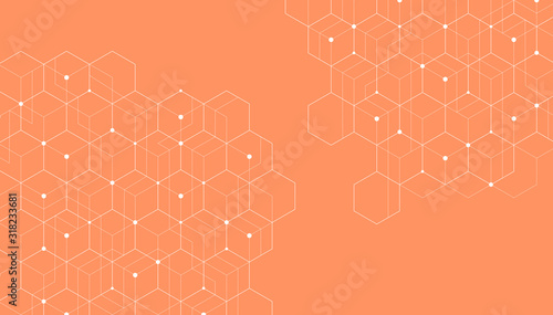 Abstract hexagonal molecular structures on orange background with copy space Wallpaper Mural