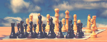 Chess On The Board, Sky Backgr...
