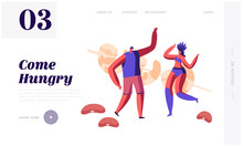 People Enjoying Traditional Meal In Brazil Website Landing Page. Cheerful Man And Woman Samba Dancer Rejoice And Dancing At Huge Fried Prawns On Stick Web Page Banner. Cartoon Flat Vector Illustration