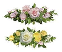 Rose Flowers Realistic Borders...
