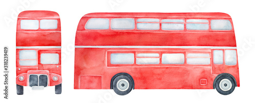 Cuadros en Lienzo Watercolour illustration collection of various sides of red double-decker bus