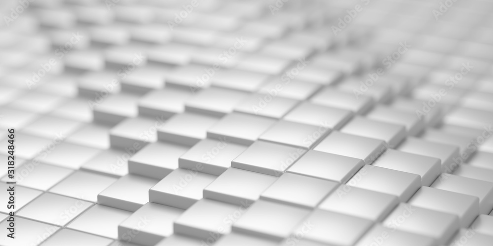 White metallic abstract geometrical cube array pattern background