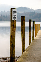 Jetty Posts On The Lake Shore At Derwentwater