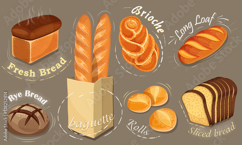 Illustration bread icons set Canvas Print