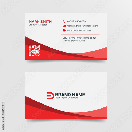 Valokuvatapetti Red and White Creative Business Card Design Template