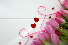 Pink Tulips And Two Love Heart...