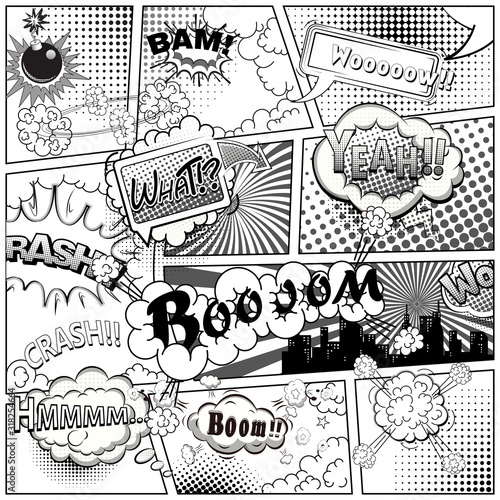 Black and white comic book page divided by lines with speech bubbles and sounds effect. Illustration.