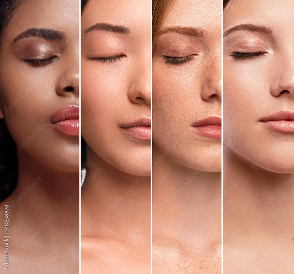 Fototapeta Crop multiethnic women with perfect clean skin