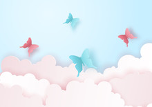 Paper Art And Craft Of Nature And Landscape Concept With Flying Butterfly On The Sky Over The Cloud. Vector Illustration Eps10.