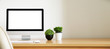 canvas print picture - blank screen Computer, Desktop PC. for business on work table front view