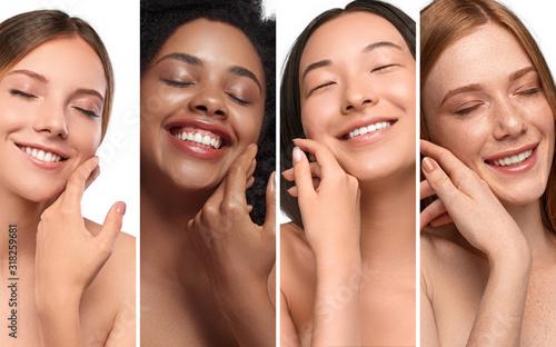 Happy diverse women enjoying skin softness Fototapete
