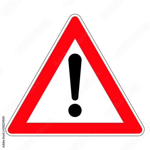 Fotomural Road sign of danger. Germany. Danger zone. Vector graphics.