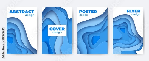 Fotomural Paper cut abstract poster set